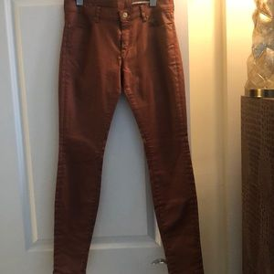 Chestnut Colored Coated Jeans